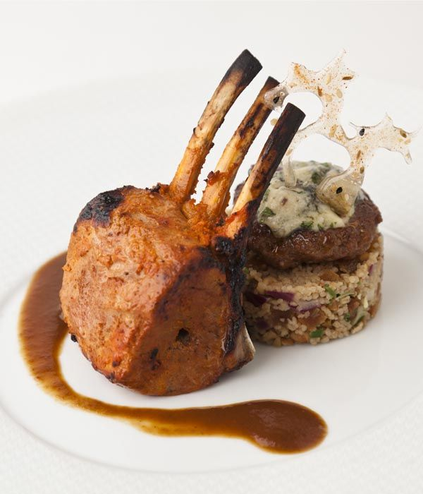 This is a complicated, many-faceted dish - but is well worth the time and patience it takes to make it. The rich, meaty lamb is complemented perfectly by the sweet apricots and sour blue cheese. - Vineet Bhatia