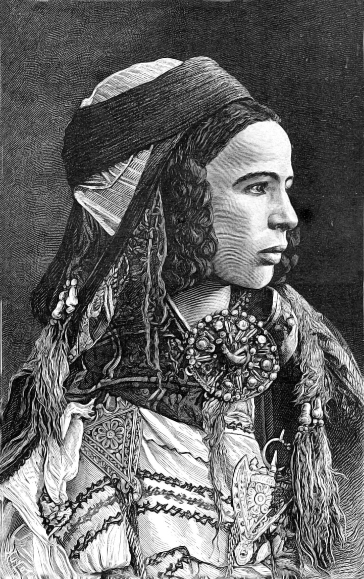 "Africa | Berber woman from Biskra, Algeria | Illustration from the book ""The civilization of the Arabs"" by Gustave le Bon. 1884 edition"