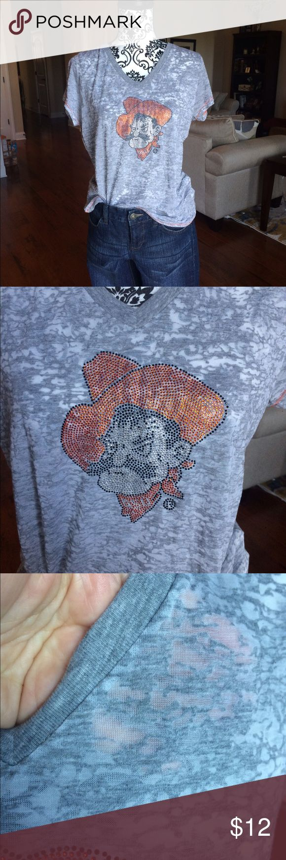 OSU burnout t-shirt This is an Oklahoma state University t-shirt with pistol Pete on the front. No rips tears or stains. In great condition. 4her Tops Tees - Short Sleeve