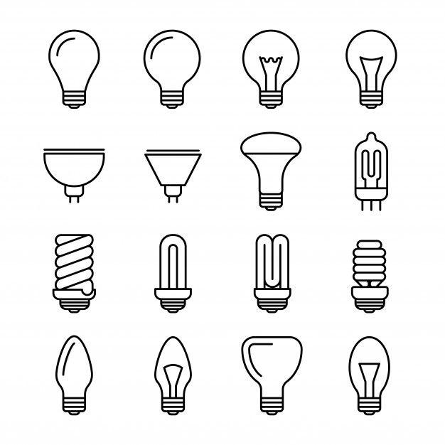 Light Bulb Outline Icons Light Bulb Icon Light Bulb Illustration Light Bulb Vector