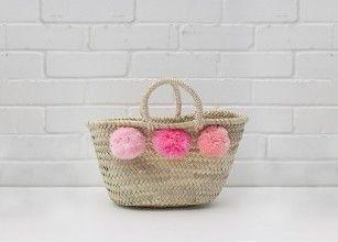 Mini market pom pom basket, pink, ombre 2