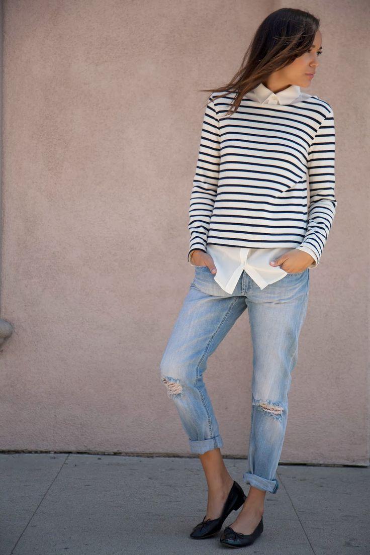 Jeans: H&M. Shirt: Equipment. Ballet Flats: Chanel. Breton Top: Petite Bateau.