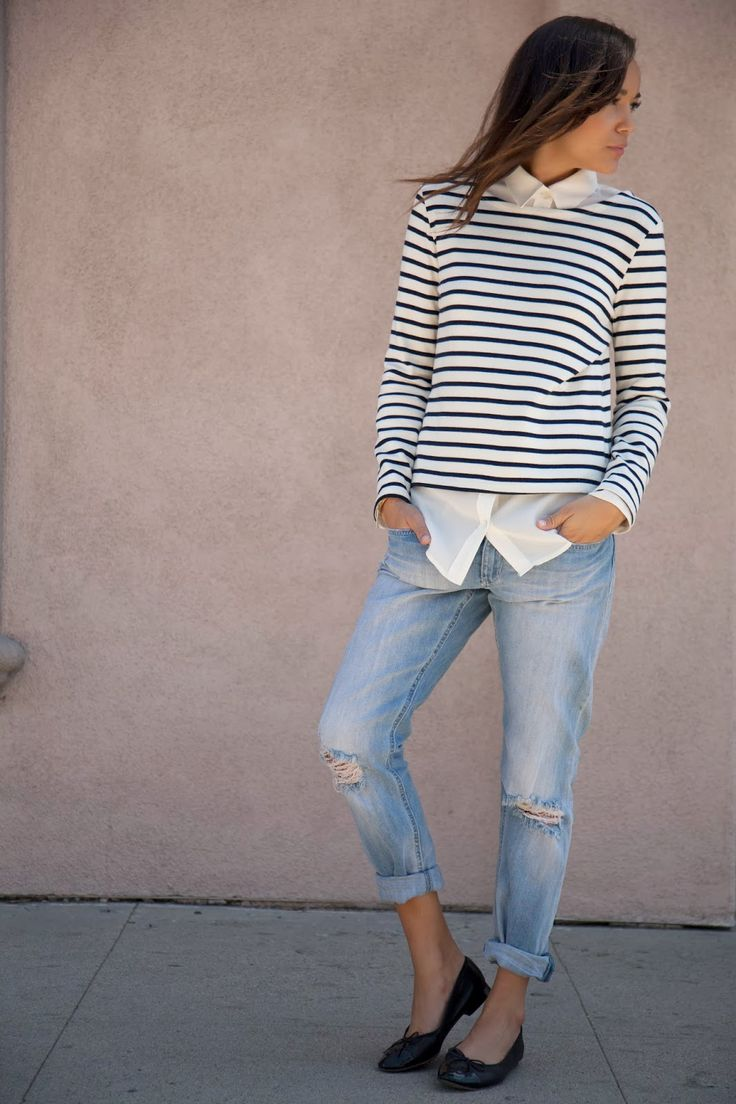 Jeans: H&M. Shirt: Equipment. Ballet Flats: Chanel. Breton Top: Petite Bateau. #Streetstyle #Stripes