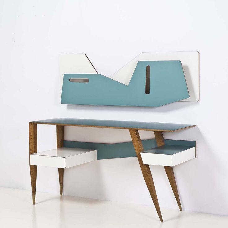 Gio Ponti; Wood and Melamine Desk, c1960.                                                                                                                                                     Plus
