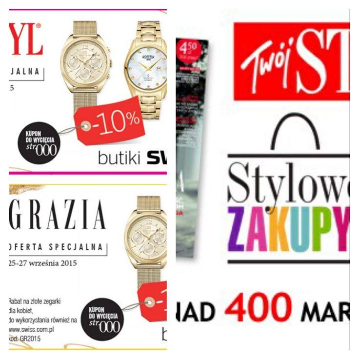 Oferta specjalna w dniach 25-27/09 - 10% rabatu na wszystkie zegarki damskie, złote w butiku SWISS w Porcie Łódź