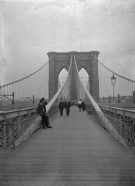 Brooklyn Bridge, Looking East, New York City Side, July 7, 1899.  Daniel Berry Austin (American, born 1863, active 1899-1909). Brooklyn Bridge, Looking East, New York City Side, July 7, 1899. Glass plate negative, 5 x 7 in. (12.7 x 17.8 cm). Prints, Drawings and Photographs. Brooklyn Museum/Brooklyn Public Library, Brooklyn Collection, 1996.164.1-973. (1996.164.1-973_glass_SL1.jpg)
