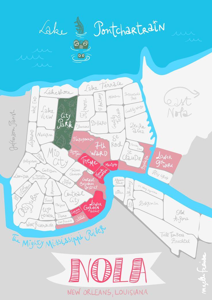 NOLA map / New Orleans, Louisiana Mzelle-Fraise illustration www.vagabonderie.com travel blog