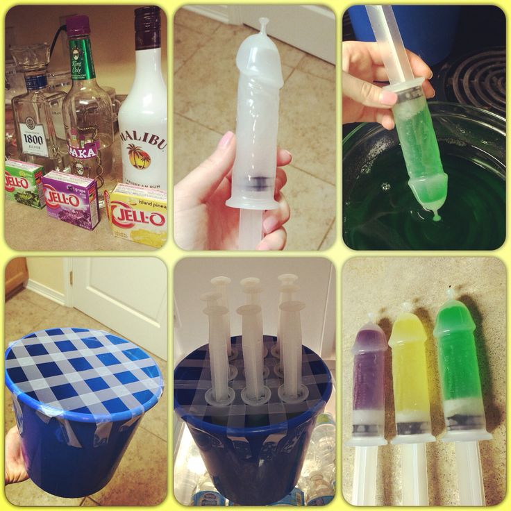 Penis jello-shot syringe. Bachlorette party!  Tequila in Lime jello. Kingcake Vodka in Grape jello. Malibu in Pineapple jello.