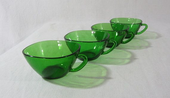 4 vereco tempered green glass tea/coffee cups. by RoziereBroc