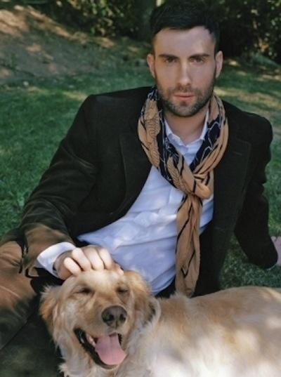 Adam Levine and Golden Retriever Frankie