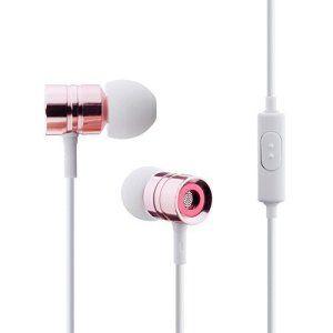 MAXAH® Écouteurs intra-auriculaire, écouteurs en métal, écouteurs stéréo filaire pour smartphone,tablette et ordinaire etc. –rose
