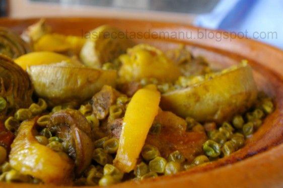 Las recetas de Manu: TAJINE DE CORDERO CON ALCACHOFAS Y GUISANTES