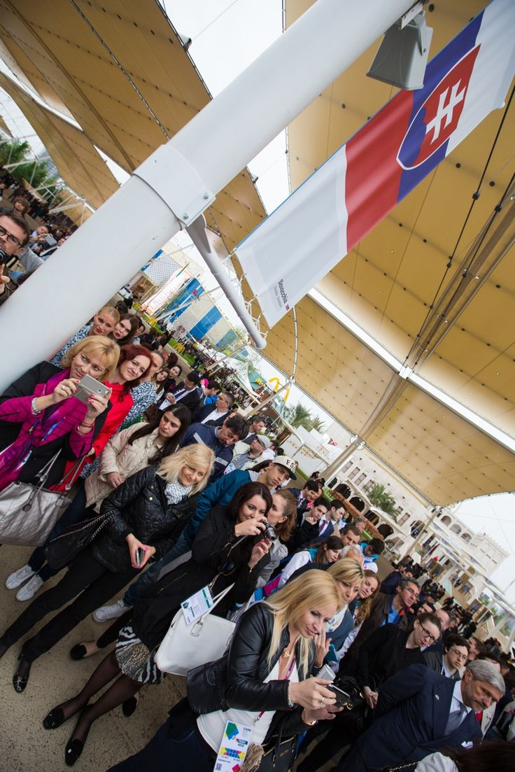 Guests at the opening of the Slovak pavilion at the EXPO Milano 2015 exhibition.