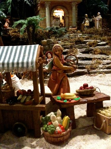 "Fontanini Christmas nativity display ideas. I've been a 5"" scale collector for 33 years, and have thousands of pieces. It's our family Christmas tradition.  Scene- Vegetable seller, and temple on the hill."