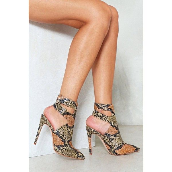Nasty Gal Young Wild and Free Snake Bootie ($42) ❤ liked on Polyvore featuring shoes, boots, ankle booties, tan, high heel stilettos, tan ankle booties, pointed toe bootie, tan ankle boots and pointy-toe ankle boots