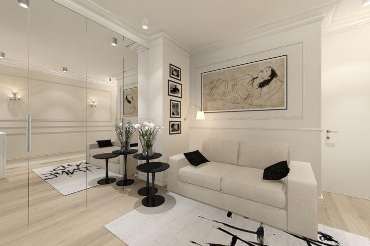 Pokój gościnny z dużą lustrzana szafą