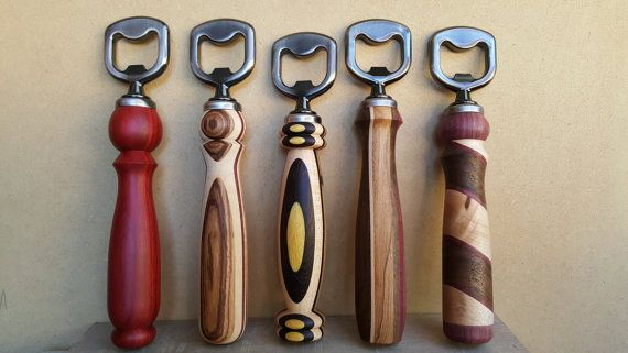 Bottle Opener - Wood Turned in Maple, Bocote, Yellowheart and Wenge Woodturned Bottle Openers by Jason Prigmore  https://www.etsy.com/listing/246547736/bottle-opener-wood-turned-in-maple?ref=shop_home_feat_3