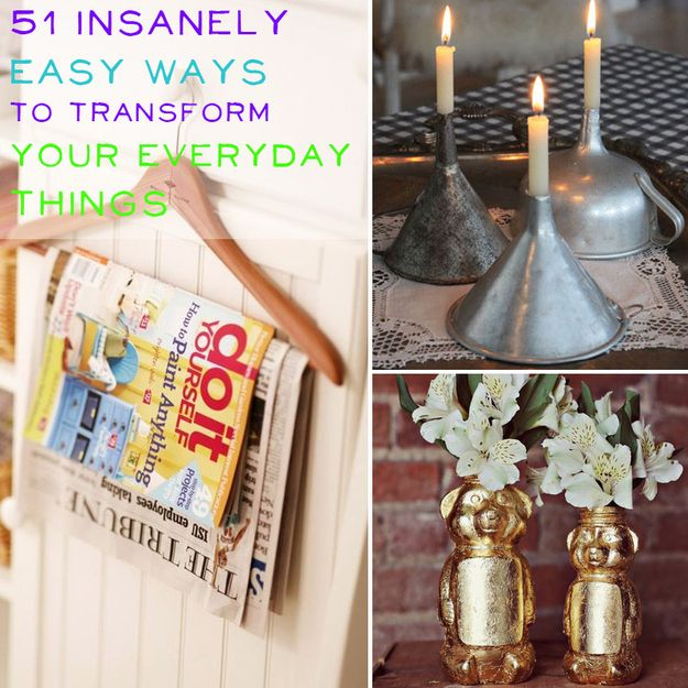 51 Insanely Easy Ways To Transform Your Everyday Things | 4. Turn magazine holders into freezer shelves. 6. Use a dessert stand to hold perfume bottles or jewelry. 9. Use funnels as candlestick holders. 21. Turn an old drawer into a bedside table. 34. Use a letter sorter to hold lids and plates in the kitchen. 36. Use a mesh laundry bag to hold small items in your dishwasher. 42. Turn a crib into a table by adding a glass top. 47. Turn a picture frame into a desk organizer.