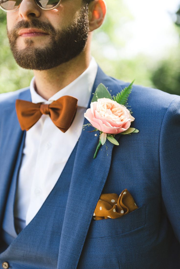 Peony Buttonhole | Outdoor Stylish Wedding at Larmer Tree Gardens | Bride in Rime Arodaky Gown | Pink Peony Bouquet | Bright Colour Scheme with Copper Accents | Images by Lisa Dawn Photography | http://www.rockmywedding.co.uk/victoria-richard/