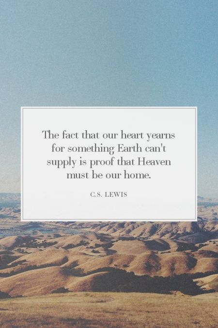The fact that our heart yearns for something Earth can't supply is proof that Heaven must be our home. - C.S. Lewis | Lisa made this with Spoken.ly