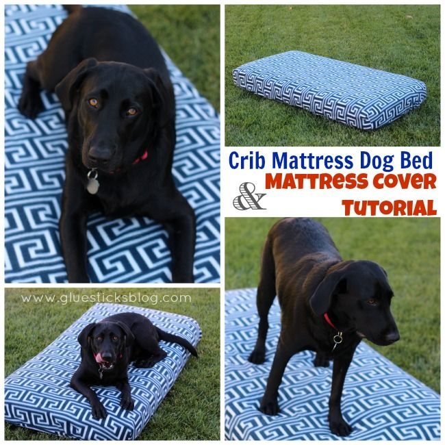 Crib Mattress Dog Bed & DIY Mattress Cover. Such an EASY indoor/outdoor dog bed, waterproof with a washable sheet!