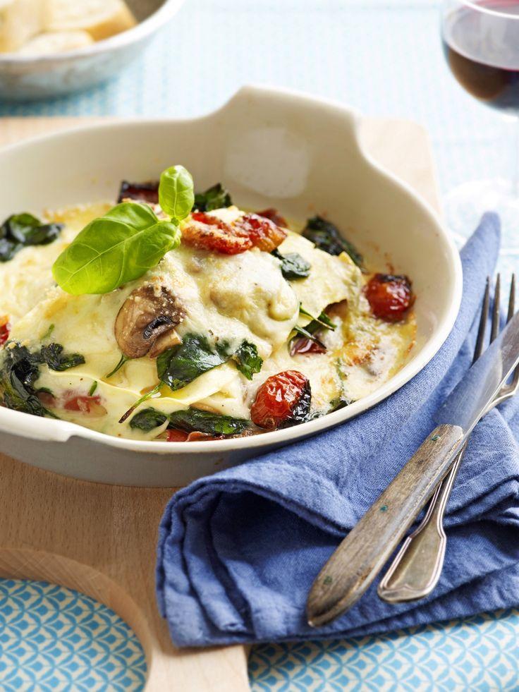 Lasagne met zongedroogde tomaatjes en gorgonzola