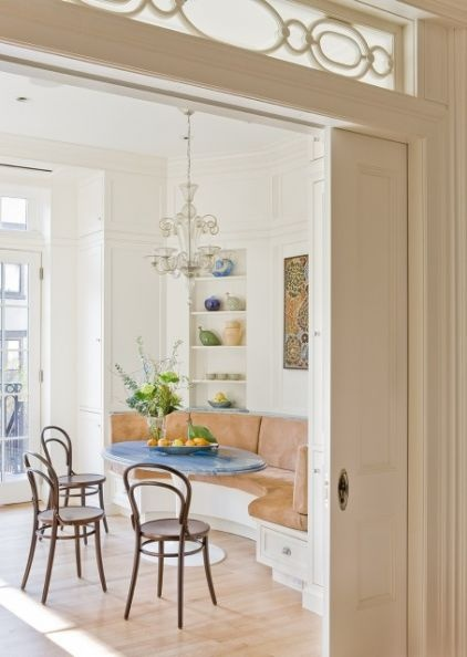 Traditional Dining Room By Ben Herzog W Bistro Chairs NOTE Glass Above Sliding Doors