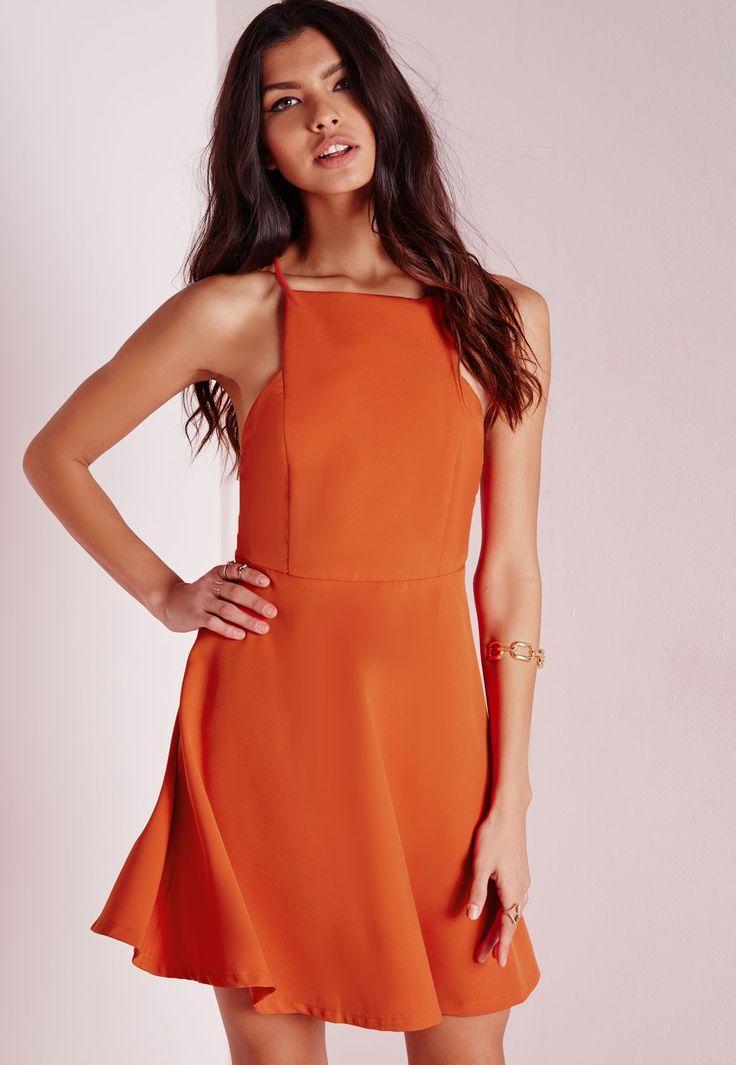Missguided - Robe patineuse orange à col droit