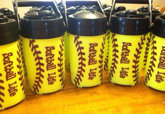 Softball Life Water Jugs Made using silhouette cameo