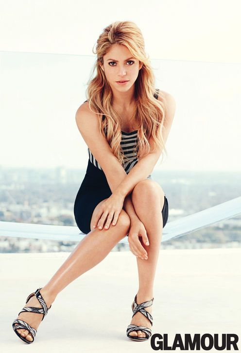 #Shakira in Glamour, February 2014. Top, skirt, Roland Mouret; earrings, Jennifer Fisher; sandals, Jimmy Choo.