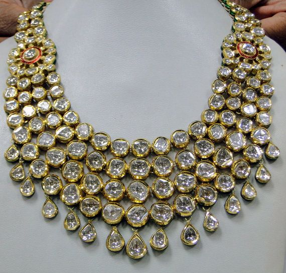 Antique 20 ct Gold Diamond necklace set kundan by TRIBALEXPORT