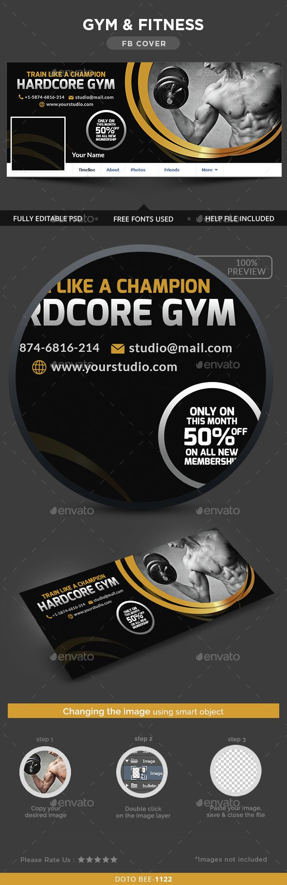 Gym & Fitness Facebook Cover Template PSD. Download here: http://graphicriver.net/item/gym-fitness-facebook-cover/14704082?ref=ksioks