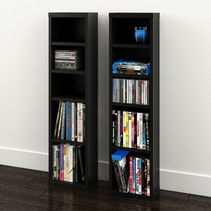 Nexera Serenit-T Modular Design Your Own Storage and Entertainment System - CD/DVD Storage Towers - Set of 2 - Black - 211006
