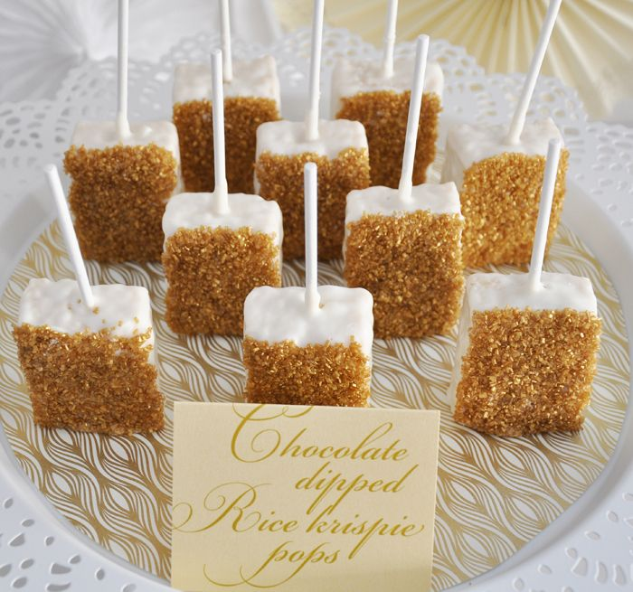 Going For Gold Guest Dessert Feature | Amy Atlas Events (Chocolate Covered Rice Krispie Treats)
