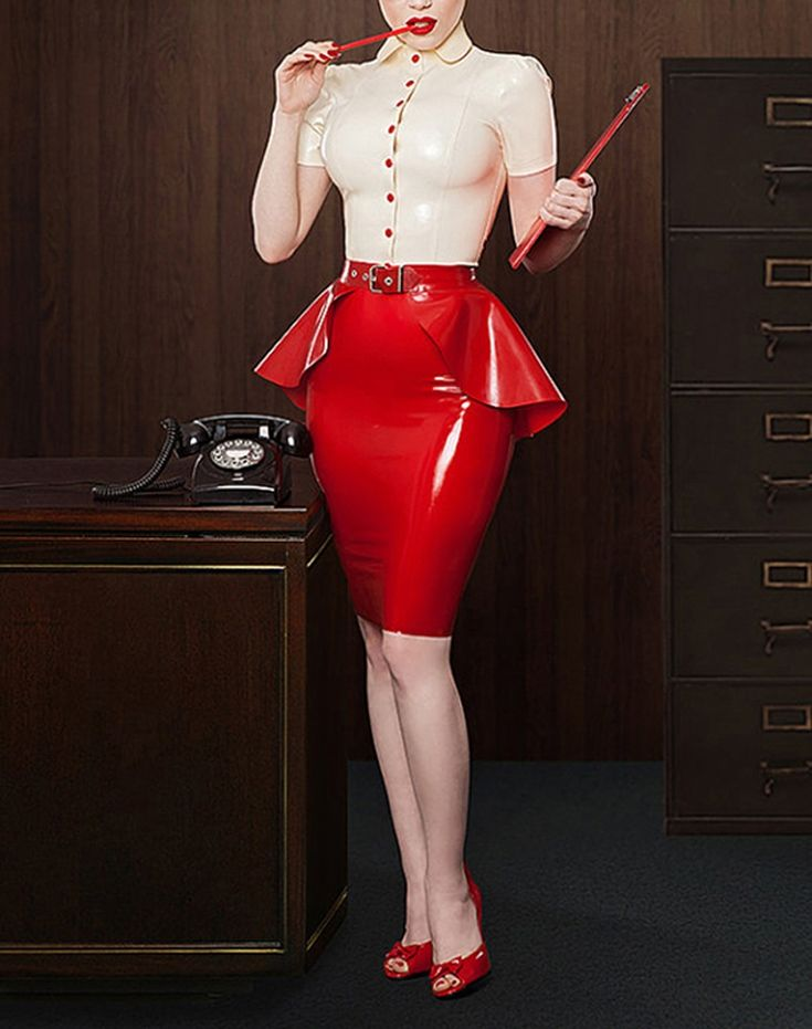 Sexy Latex White Shirt and Red Skirts With Lace Skirt Large Size Hot Sale S-XXL Customize Service