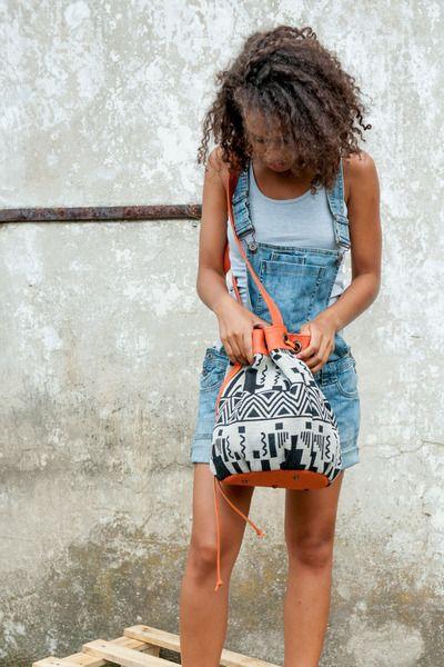 Sakwa worek w azteckie wzory - skóra i żakard - KOKOworld - Pozostałe www.kokoworld.pl #kokoworld #handmadebag #lightbag #india #fairtrade