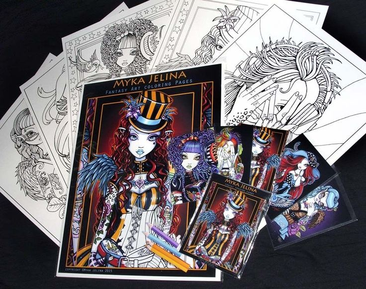Fairy Art Adult Coloring Fantasy Angel Rockabilly Myka Trading Card Set 1