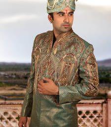Buy green brocade embroidered sherwani sherwani online