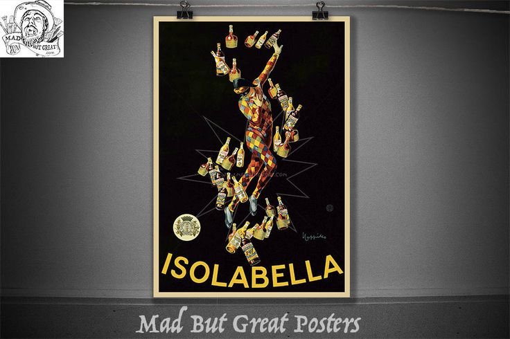 Isolabella - Leonetto Cappiello - 1910, vintage, poster art, alcohol gifts, food & drink, wall art, decor, 1900s, giclee, prints, antique, by MadButGreatPosters on Etsy