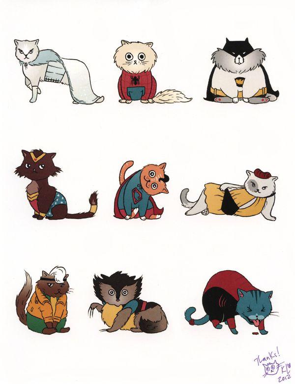 A cute kitties print for a cause!: Geek, Superhero Cats, Heroes Print, Superhero Kitties, Stuff, Kitty Superheroes, Comic, Supercats, Kateleth