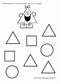 le triangle, exercice reconnaissance de forme géométrique cycle 1