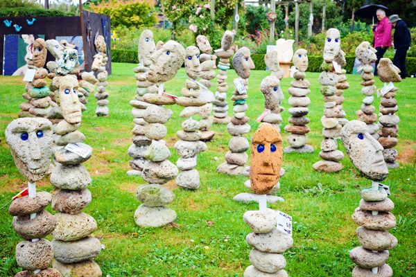 Pumice heads: Some of the sculpture on display. My neighbors would freak out if I put one of these in my yard. lol