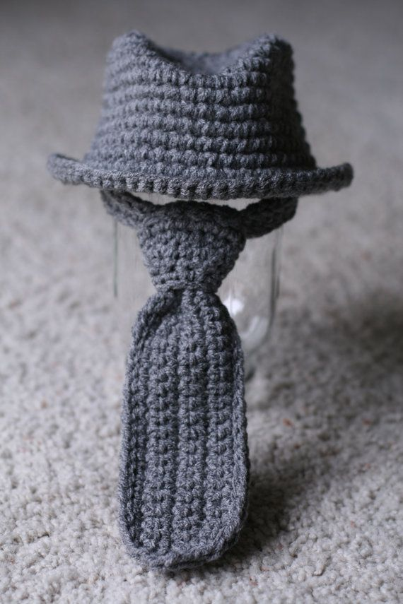 Fedora Hat Neck Tie Set Newborn 3 months by LoveMeRaggedbyTracy, $38.50 -- This is so cute!!!