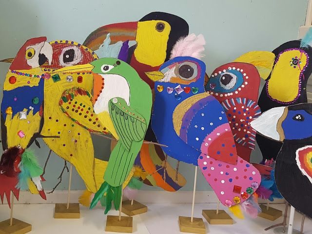 I was inspired by this post from Krokotak and this from the Crafty Crow. Birds and recycled cardboard?! You have me at my happy place! The children could choose to create their own bird using a bird a