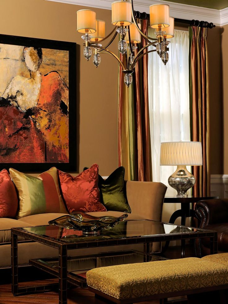 A Metallic Chandelier Adds An Unexpected Art Deco Touch To This  Transitional Living Room. Warm Pictures Gallery