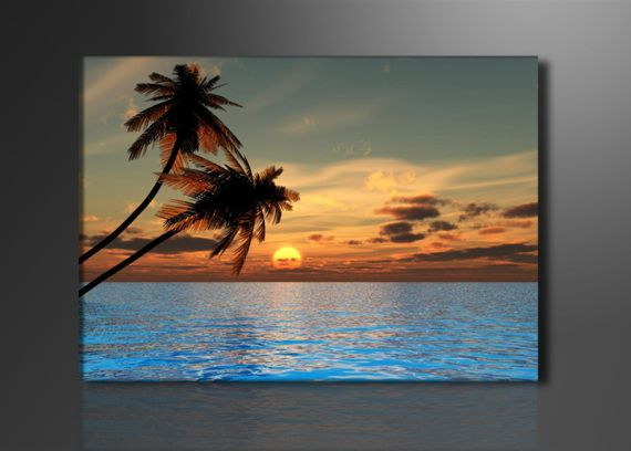 Cuadro en lienzo mar azul palmeras playa arte dibujo - Cuadros hechos con piedras de playa ...