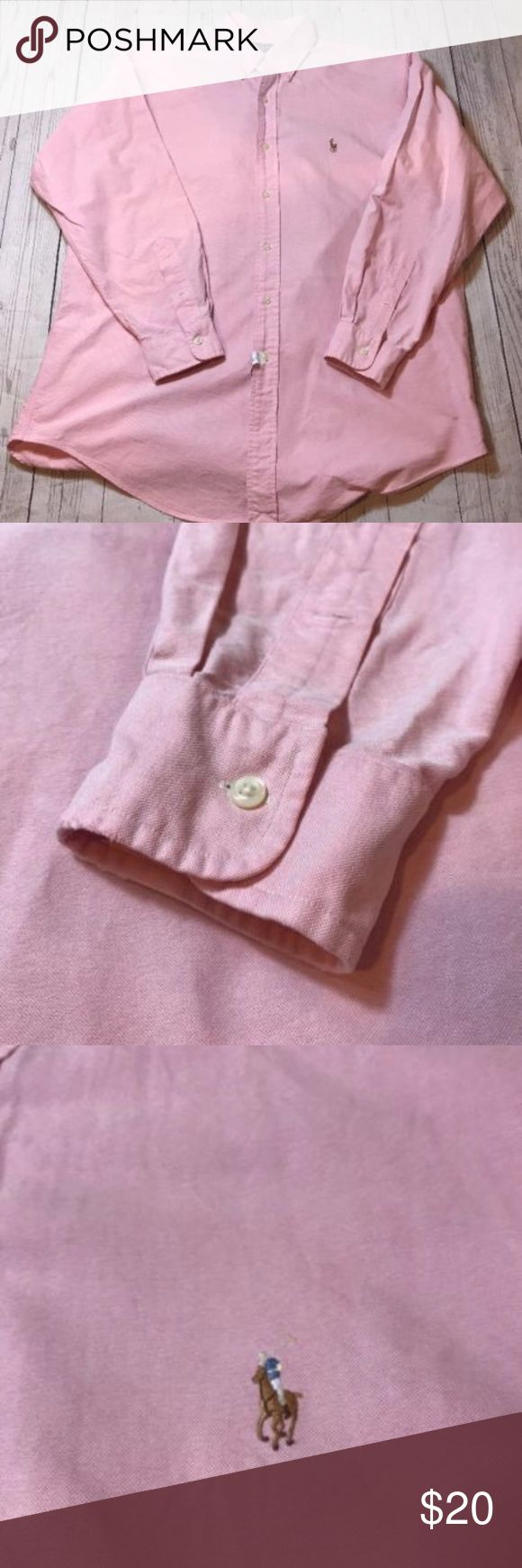 "RALPH-LAUREN-Yarmouth-Mens-16-33-Pink-Long-Sleeve Shirt in very good condition with no stains or holes.  Chest: 26""  Length: 31""  Thanks for looking!  Please subscribe to my store for updates on new items! Polo by Ralph Lauren Shirts Casual Button Down Shirts"