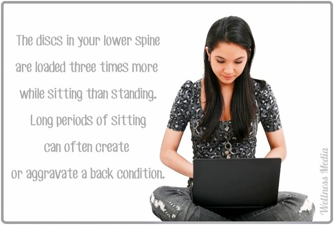 Low back pain can feel worse with sitting. When you are seated the discs on your back are loaded three times more than standing.