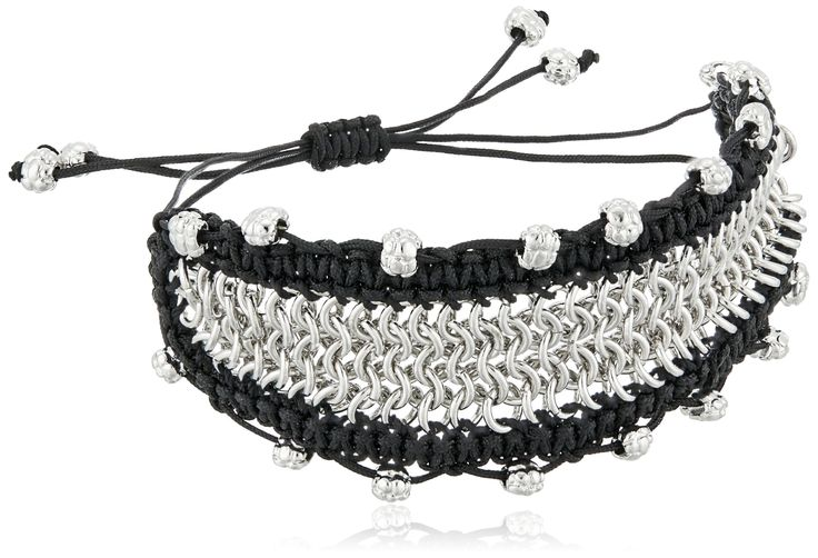 Sam Edelman Chainmail Macrame Black/Rhodium Bracelet. Made in China. Adjustable, bohemian and fun. Imported.