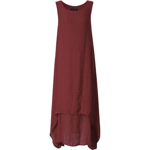 Vintage Sleeveless Pure Color Long Maxi Dress For Women ($19) ❤ liked on Polyvore featuring dresses, maroon, long vintage dresses, vintage red dress, long red dress, long dresses and long maxi dresses